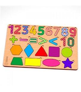 Деревянный пазл Цифры фигуры, цветные 119322