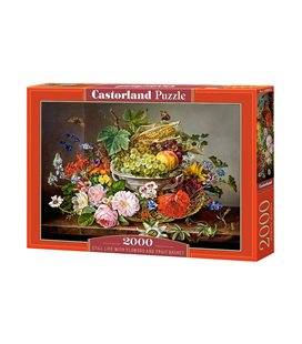 Пазл - Натюрморт с цветами и корзиной с фруктами (Castorland) 2000 эл.