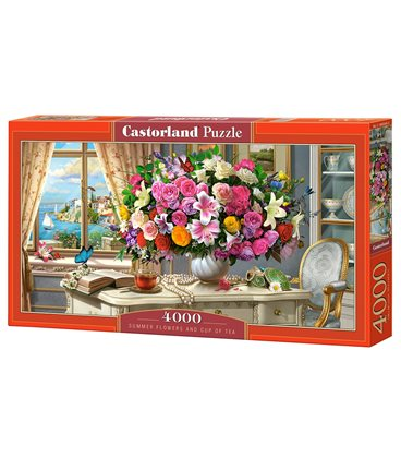 Пазл - Летние цветы и чашка чая (Castorland) 4000 эл.