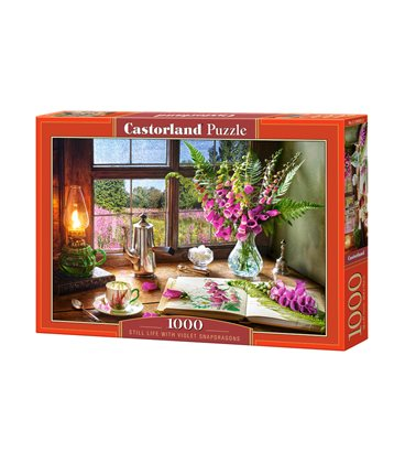 Пазл - Натюрморт с фиолетовыми снэдрагонами (Castorland) 1000 эл.