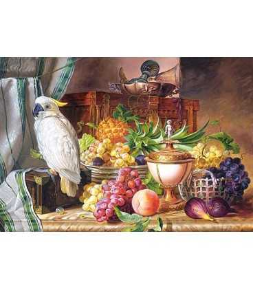 Пазл - Натюрморт с фруктами и какаду