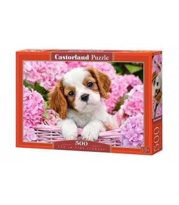 Пазл - Щенок в розовых цветах (Castorland) 500 эл.